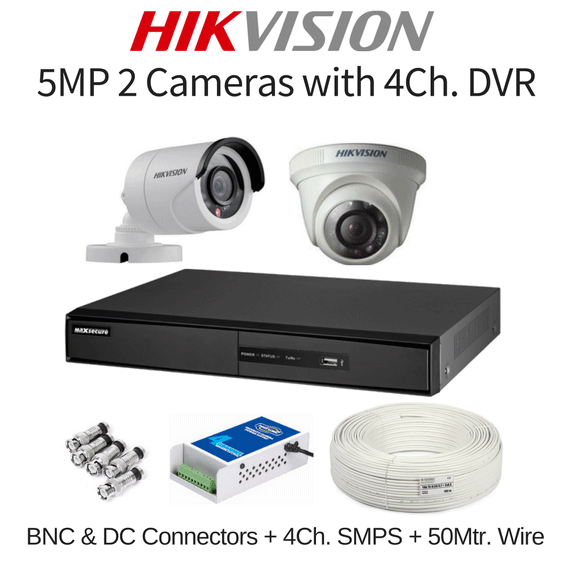 36197477191 Hikvision 5mp 2 Cameras With Dvr Combo Kit